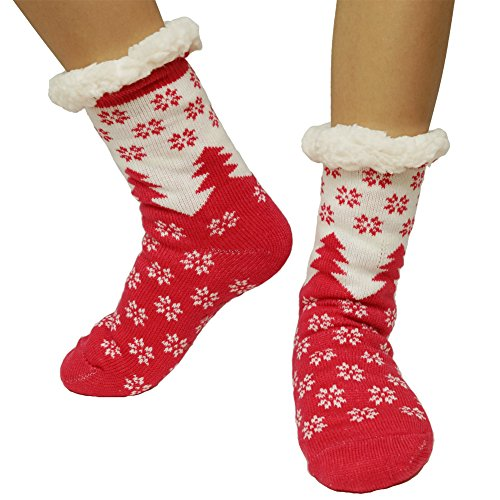 Women Warm Super Soft Cozy Fuzzy Home Slipper Socks Chirstmas Gift (red2) ()