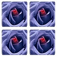 Liili Natural Rubber Square Coasters IMAGE ID: 2335180 Love birth Blue toned rose with heart symbol from petal in center Look like