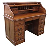 Chelsea Home 54 in. Mylan Roll Top Desk in Burnished Walnut
