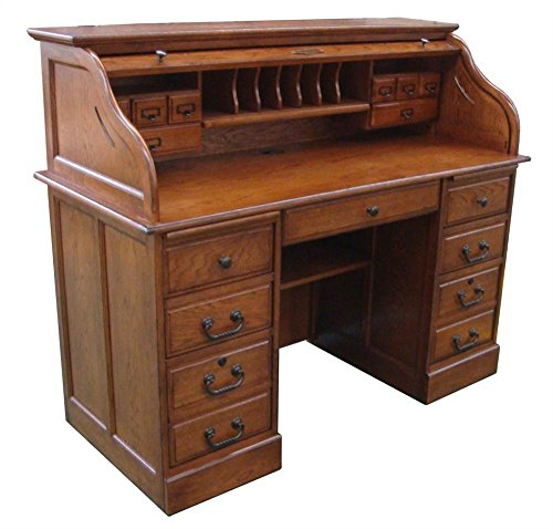 Chelsea Home 54 in. Mylan Roll Top Desk in Burnished Walnut (Desk Wood Top Roll)