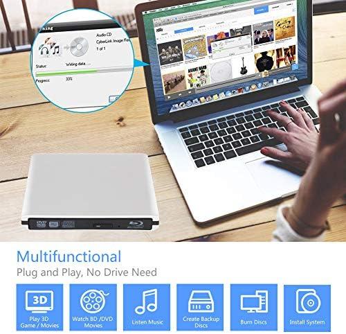 Lettore Masterizzatore DVD 4K Blu Ray Esterno Portatile Ultra Sottile USB 3.0 CD/DVD RW Lettore Disco per laptop/desktop Macbook, Win 7/8/10, Linux