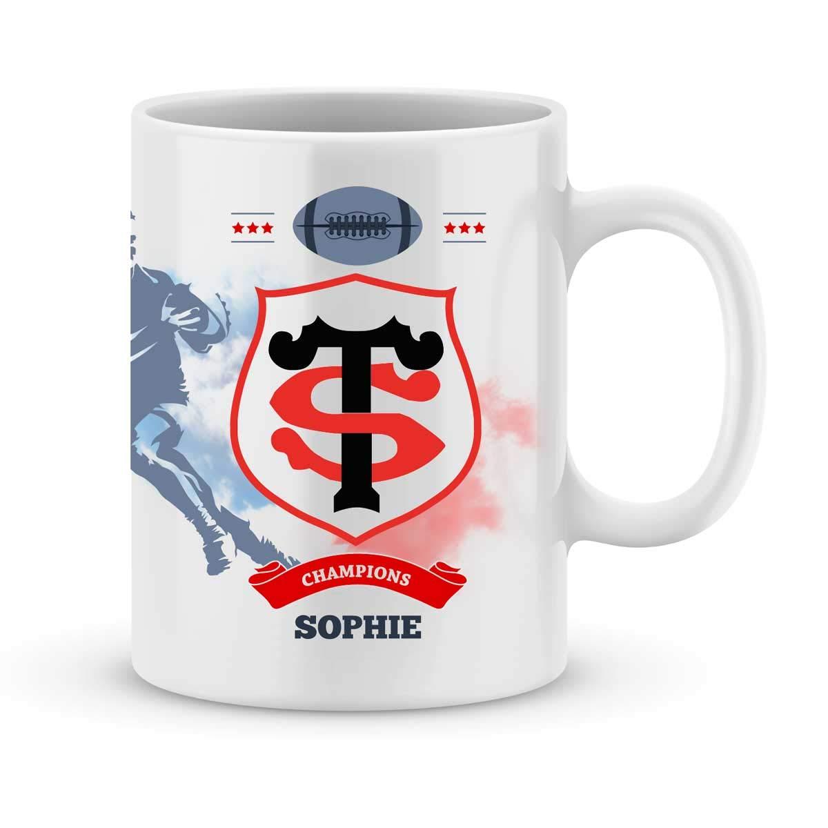 Mug Stade Toulousain Rugby Top 14 à personnalisé avec votre prénom - Cadeau personnalisé rugby top 14 Toulouse - Cadeau anniversaire - Cadeau fête des pères - Cadeau Noël
