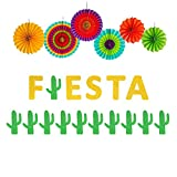 Fiesta Banner Cacti Garlands Colorful Paper Fans Cino De Mayo Party Supplies