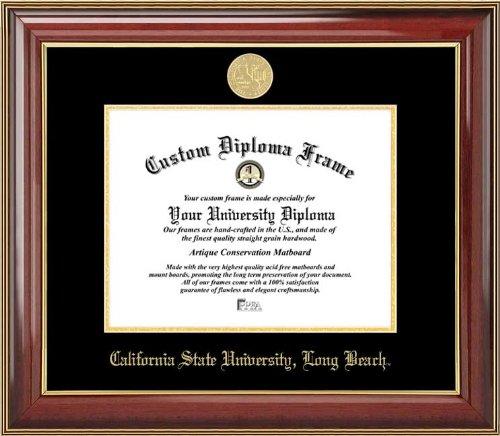 (Laminated Visuals California State University Long Beach 49ers - Gold Medallion - Mahogany Gold Trim - Diploma)