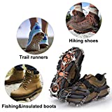 Qerhod Traction Cleats,18 Tooth Stainless Steel Ice Snow Grips Anti Slip Crampons,Suitable for Winter Jogging,Hiking, Climbing,Other Outdoor Events-Includes Carry Bag