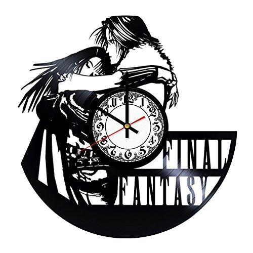 Vinyl Final Record Scratch (Handmade Vinyl Wall Clock Final Fantasy VII Vinyl Record Clock Home Decor Art)