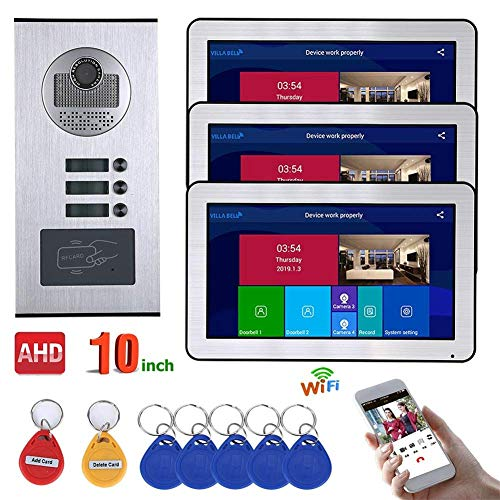 JJML-G Video Intercom System 3 Apartment 10 Inch Recording Cable AHD 720P Video Door Telephone Intercom System Smart Doorbell - Video Phone Intercom with 3 Buttons 3 Waterproof Display