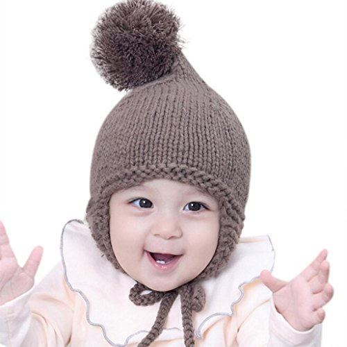Fiaya Toddler Baby Boys Girls Earflaps Knitting Winter Warm Ball Hats Cap (Coffee) ()