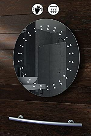 MY Furniture ROUND LED ILLUMINATED BATHROOM MIRROR DEMISTER SENSOR 500 Mm