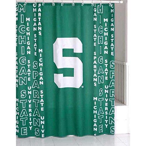 Michigan State Spartans Shower Curtain (Michigan State Spartans Green NCAA Bathroom Shower Curtain)
