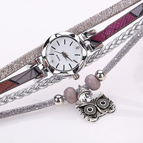 Outsta Watch Fashion Women Girls Analog Quartz Owl Pendant Ladies Dress Bracelet Watches for Girls Women Gift Present (Black)