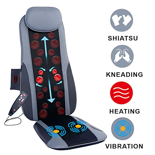 Sotion Shiatsu Back Massager for Chair Seat Massage Cushion with Heat, Deep Kneading Rolling Vibration Massage Chair Pad, Relief Pain and Fatigue from Back, Lumbar, Highs ()