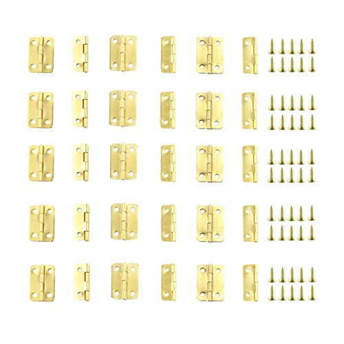 Gizhome 25 Sets Antique Right Latch Hook Hasp and 50 Sets Antique Bronze Small Box Mini Hinges with Replacement Screws for Wood Jewelry Box Bronze Tone