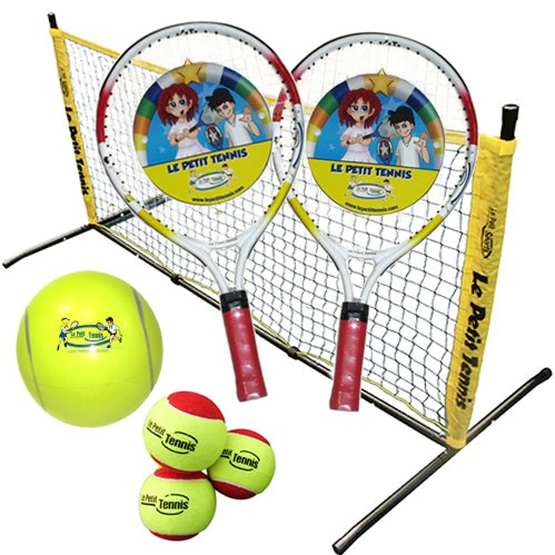 "Le Petit Tennis – ""Tennis in a Box"" 5 pcs Mini-Tennis Kit (17″ Racquets, 5 foot Steel Net, 4 Balls)"
