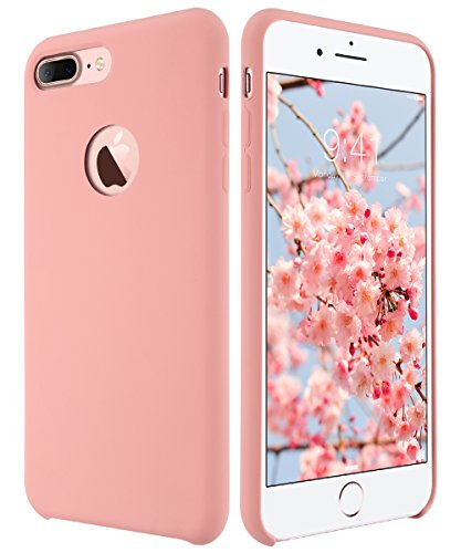 ULAK iPhone 7 Plus Case,Shock Absorbing Liquid Silicone Gel Rubber Shockproof Case Cover with Soft Microfiber Cloth Lining Cushion for Apple iPhone 7 Plus (Coral Pink)