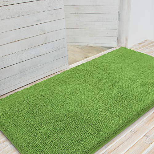 LINLA Premium Large Durable Chenille Entrance Mat, Indoor Outdoor Entrance Doormat, Absorbent Quick Dry, Easy Clean, Non-Slip Mud Dirt Trapper Heavy Duty Entry Mat, 31x59 Inches Green (59 Dark Green)