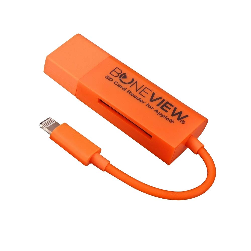 BoneView SD Card Reader for iPhone - New Corded Trail Camera Viewer Plays Deer Hunting Game Camera Scouting Video & Photo Memory on All Latest Apple iOS iPad and iPhone Smartphones, Orange by BoneView