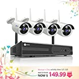 anni 4CH 720P HD NVR Wireless Security CCTV Surveillance Systems, Wifi NVR Kit and (4) 1.0MP Megapixel Wireless Indoor Outdoor Bullet IP Cameras, P2P, 65ft Night Vision,NO HDD