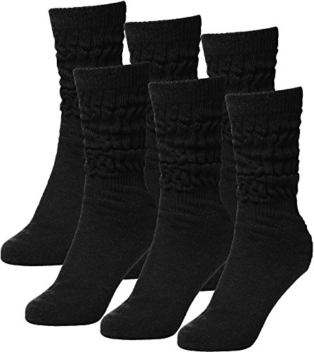BRUBAKER Womens Or Mens Fitness Workout Slouch Gym Socks Black 6 Pack EU35-38 / US3-6