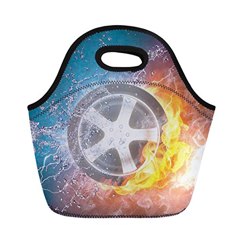Mumeson Chic Water Fire Tyre Pattern Reusable Thermo Lunch Bags for Kids Boys Girls Adults Insulated Lunchbox