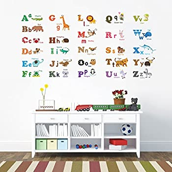 Decowall DA 1308L Alphabet ABC And Animals Kids Wall Decals Wall Stickers  Peel And Stick Part 34