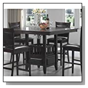 JADEN COUNTER HEIGHT SQUARE DINING TABLE SET 5 PIECE DARK WOOD