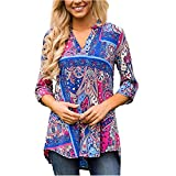 ManxiVoo Women's V Neck Split Floral Print Tunic Tops Cuffed Sleeve Casual Blouse Shirt (M, Blue)