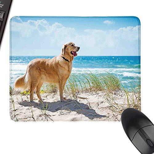 Dog Lover Decor Waterproof Mousepad Golden Retriever on a Sandy Dune Overlooking Tropical Beach Ocean Outside Sky Laptop Desk Mat, Waterproof Desk Writing Pad 35.4