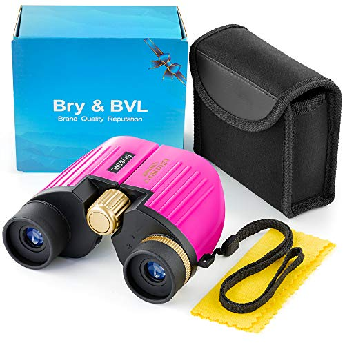 Bry&BVL Girls Toys | Young Girl Gifts & Birthday Present | Toys for 3 4 5 6 7 + Year Old Girls | 8X22 Binoculars for Girls - Juguetes para niñas | Kids Binoculars Girls for Bird Watching - Pink (Best Bird Watching Binoculars 2019)
