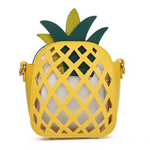 Piece Small with Crossbody 2 Gold Chain Strap Pineapple Shapped Black 6nxqBgn