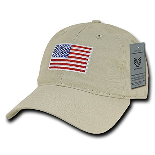 Rapid Dominance American Flag Embroidered Washed Cotton Baseball Cap - Original Stone