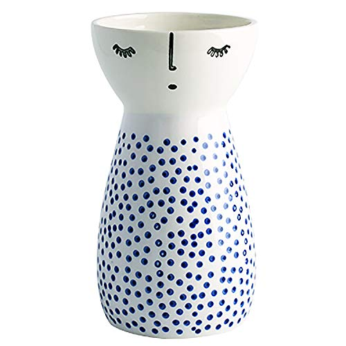 Senliart White Ceramic Vase, Small Flower Vases for Home Décor, 5.9 X 3.2 X 3.2 (Polka Dot)