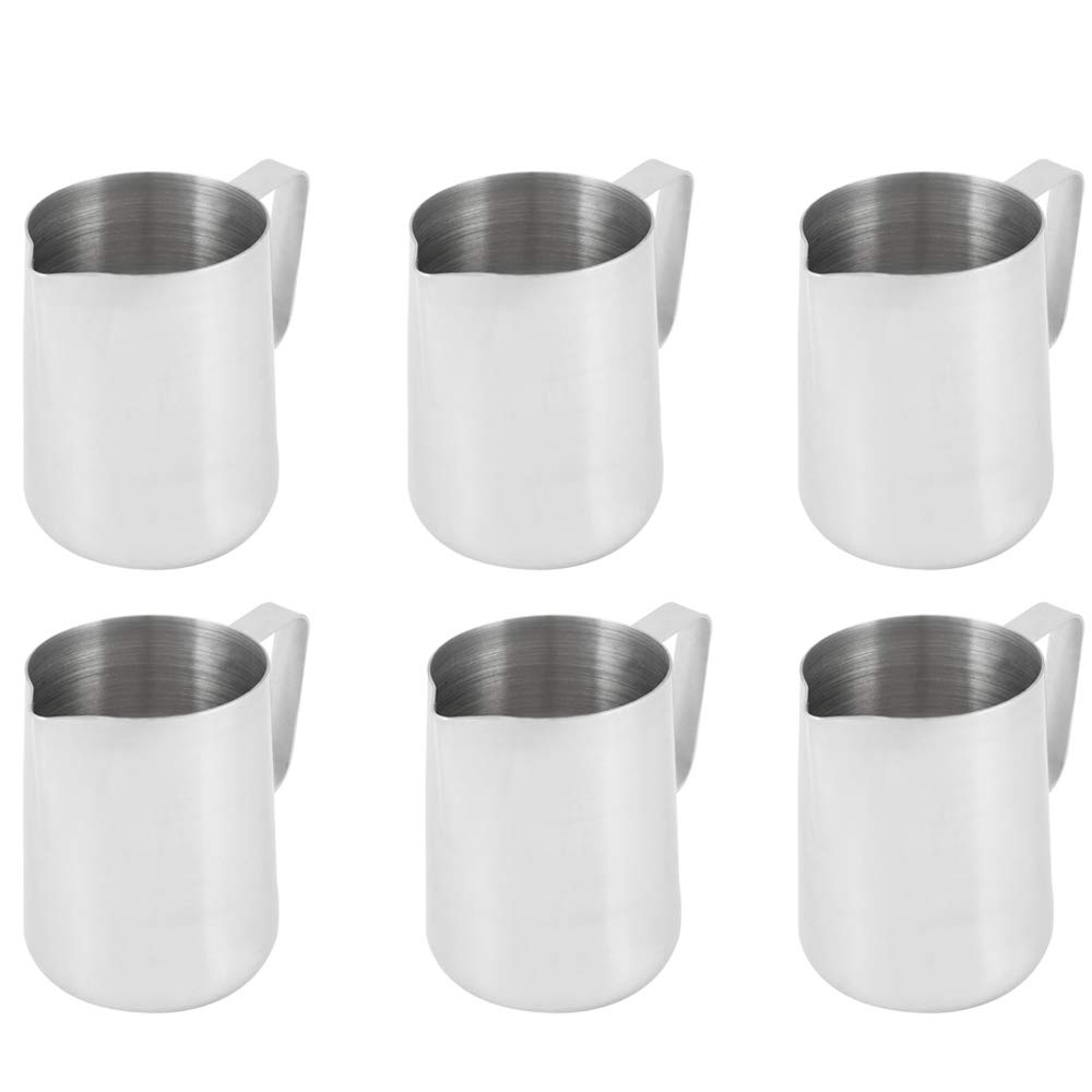 (Set of 6) 1 Quart Milk Frothing Pitcher, 32-Ounce / 1 Liter. Large Milk Pitcher by Tezzorio, Stainless Steel Milk Steaming Frothing Pitchers for Espresso Machines, Milk Frother/Latte Art by Tezzorio Tabletop Service