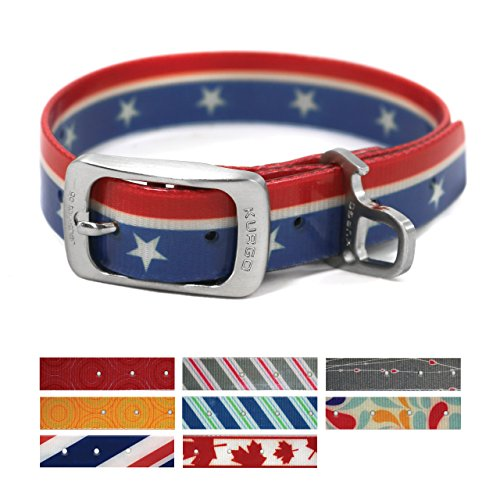 Kurgo Muck Collar Easy Rider Patriotic Collar Waterproof Dog Collar, Small (Closure Bottles)