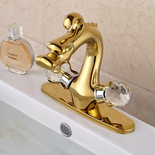 Rozin® Crystal Knobs Dragon Head Bathroom Sink Faucet with Holes Cover Plate Gold Finish