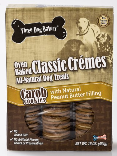 (Three Dog Bakery Classic Creme Carob With Peanut Butter, Baked Dog Treats, 16-Ounce)