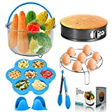 JERXUNY 8 Pieces Pressure Cooker Accessories Set for Instant pot 6, 8 Qt With Steamer Basket, Silicone Egg Bites Mold, Springfrom Pan, Egg Steamer Rack, Food clip,mini silicone oven mitts
