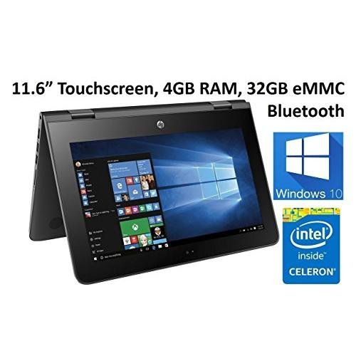 Top Performance Hp X360 2-in-1 Premium 11.6' HD Touch Laptop, Intel Dual-Core Processor, 4GB RAM, 32GB SSD, Bluetooth, 802.11AC, Webcam, HDMI, Light and Thin, Free One Year Office 365,Win 10- Black