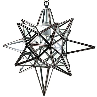 Star of Bethlehem, Moravian Star Pendant, Clear Glass, Bronze Frame, 12x15