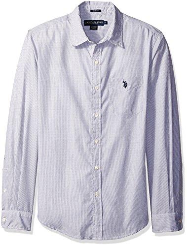 U.S. Polo Assn. Mens Long Sleeve Slim Fit Dobby Stripe Sport Shirt