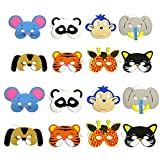Delight eShop 12Pcs Kids Cosplay Halloween Animal Head Masks Zoo Party Dress Costume Prop Toy