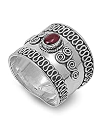 CHOOSE YOUR COLOR Sterling Silver Bali Ring