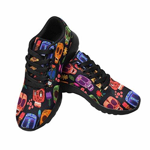 D-story Jogging Kör Sneaker Seamless-mexikansk Skalle Day Of The Dead Kvinna Casual Komfort Sports Gå Löparskor Svart