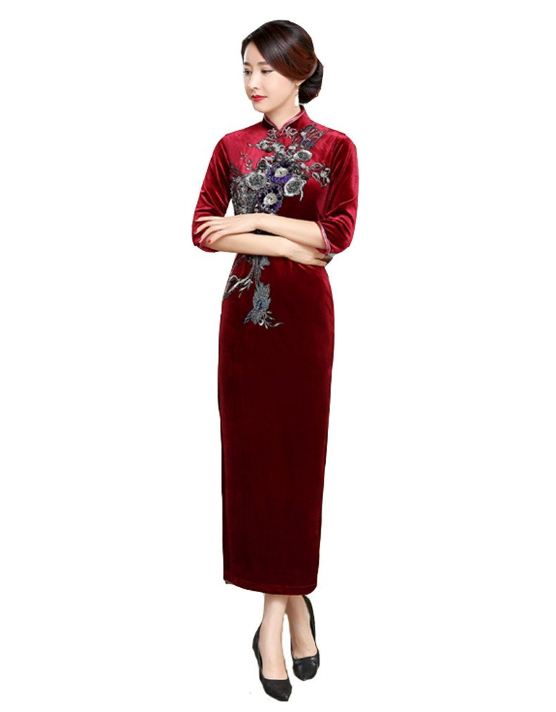 ACVIP Women Flower Embroidered Cheongsam Qipao Evening Party Birthday Dress (US10(Tag XXXL), Red)