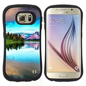 "Hypernova Slim Fit Dual Barniz Protector Caso Case Funda Para Samsung Galaxy S6 [Naturaleza Hermosa Forrest Verde 42""]"