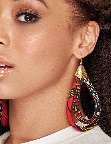 cute button earrings boho earrings handmade earrings Button earrings fabric covered button earrings ethnic earrings African earrings