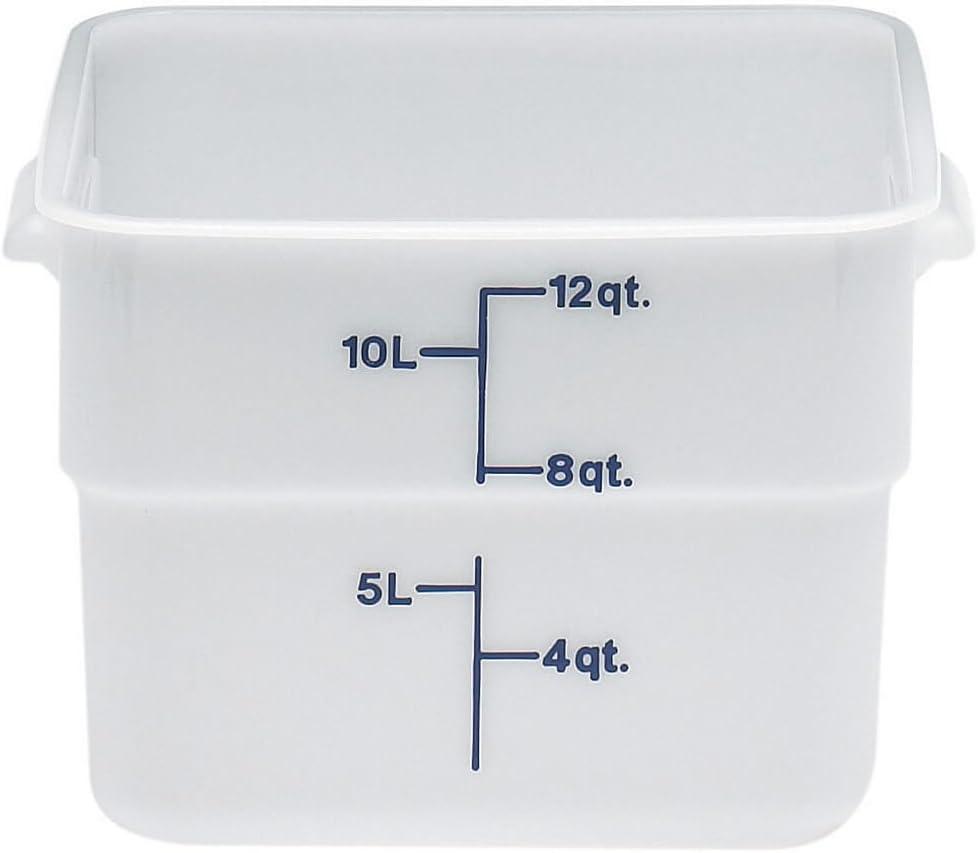 Cambro 12SFSP148 CamSquare 12-Quart Food Containers, Set of 6 (Polyethylene, Natural White, NSF)