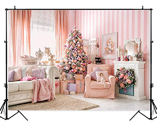 Allenjoy 7x5ft Pink Interior Room Christmas Decoration Photography Backdrop and Studio Props Princess Fairy Tale Xmas Eve Background Girl Newborn Baby Shower Portrait Party Event Banner