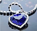 Heart of Ocean Alloy Blue Sparkling Rhinestone Crystal Diamond Necklace Chain Pendant Necklace
