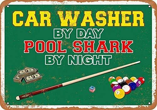 Señal de Metal con Texto en inglés Car Washer by Day, diseño de tiburón en la alberca por la Noche: Amazon.es: Bricolaje y herramientas